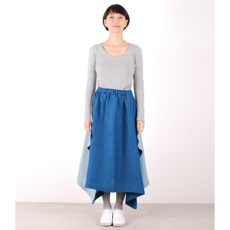 にこにこツートンシリーズ はばたきスカート(藍×露草)