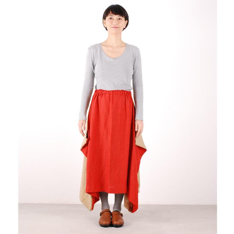 にこにこツートンシリーズ はばたきスカート(朱×薄茶)