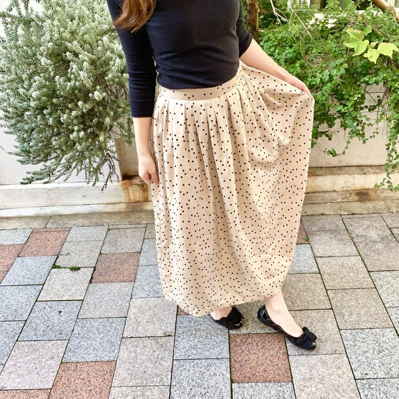 Beige  Dot Tucked Long Skirt