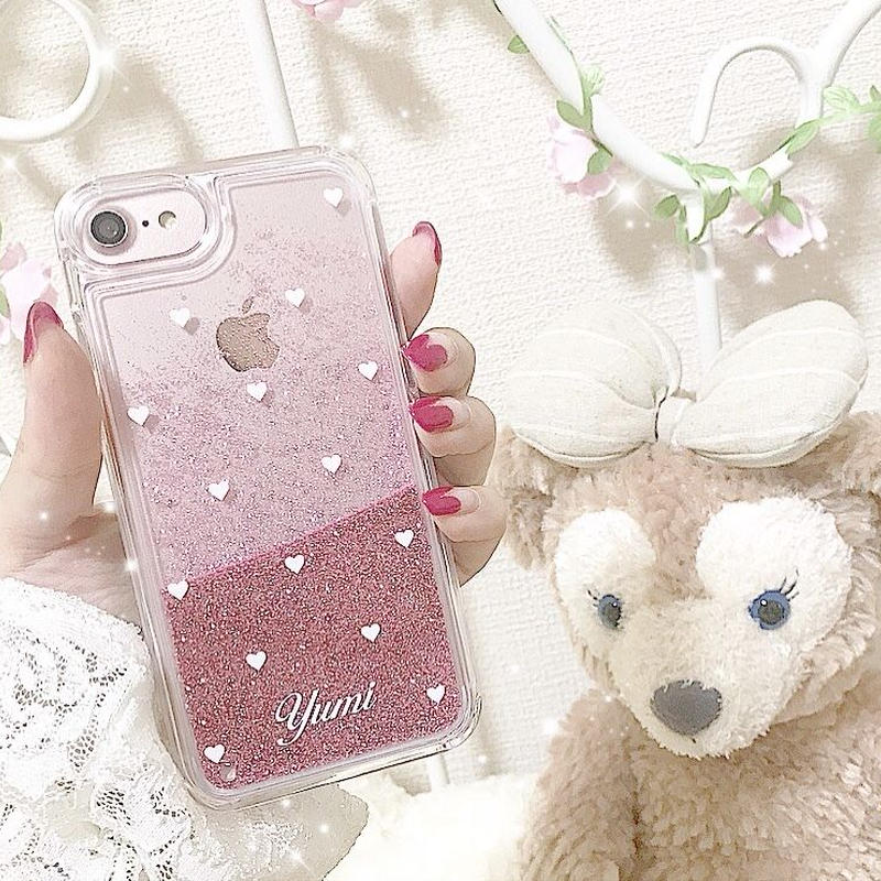 【ネーム入り】Mini White Heart♡ミニホワイトハート【ピンクグリッターケース】G01