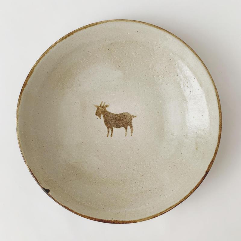 ヒージャー皿(茶ライン)