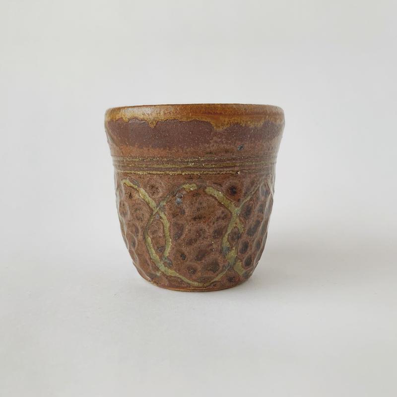 フリーカップ(茶・紋様)