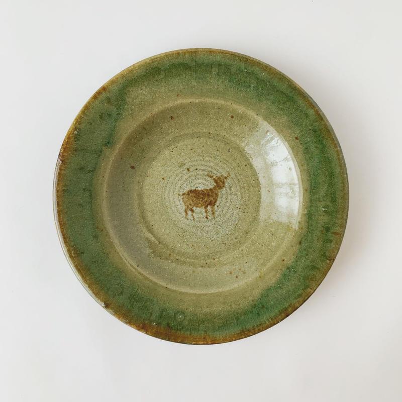 ヒージャー皿(抹茶)