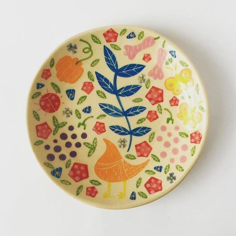 色絵付け丸皿(果物)