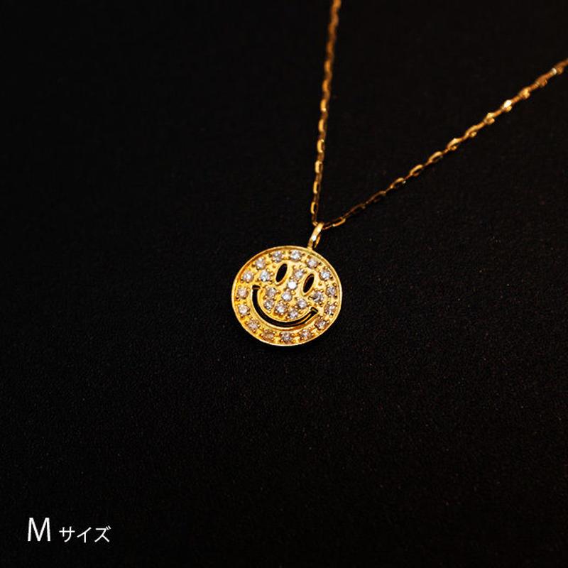 ゴールドネックレス スマイルマークMサイズ K18 ダイヤ
