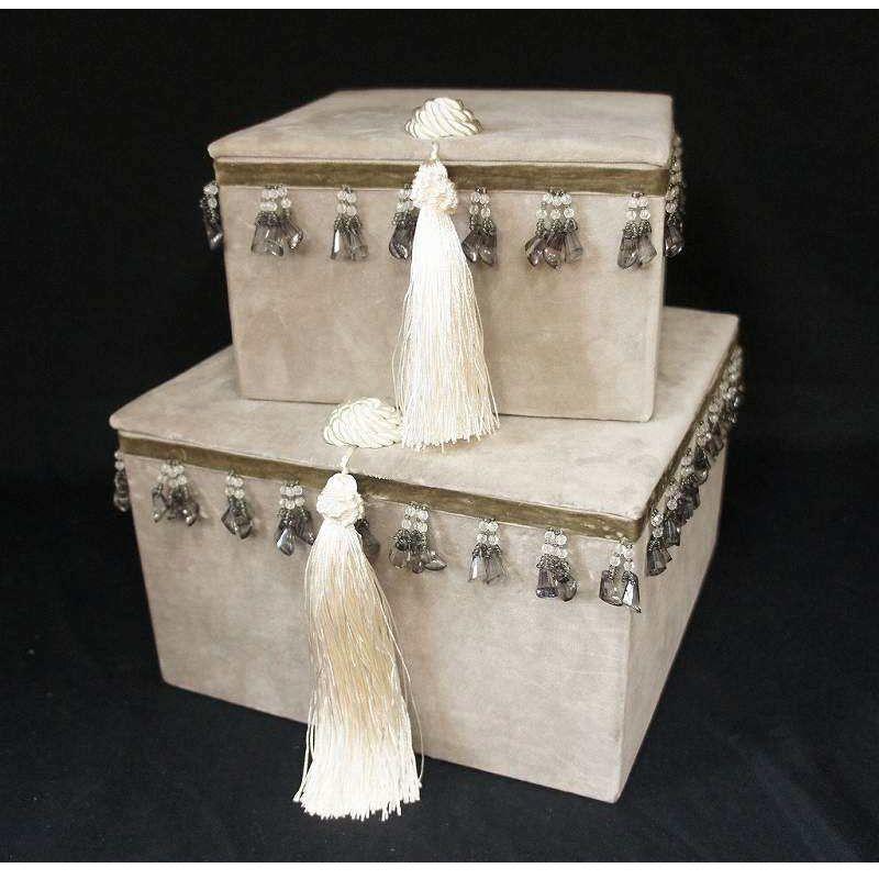 ジェニファーテイラー  ボックス2pセット ベロア グレージュ  品番:vv-32906bx