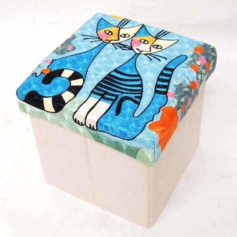 刺繍スツール(30×30×30) ロジーナ「ロマンス」 商品番号:is1087-rs-42