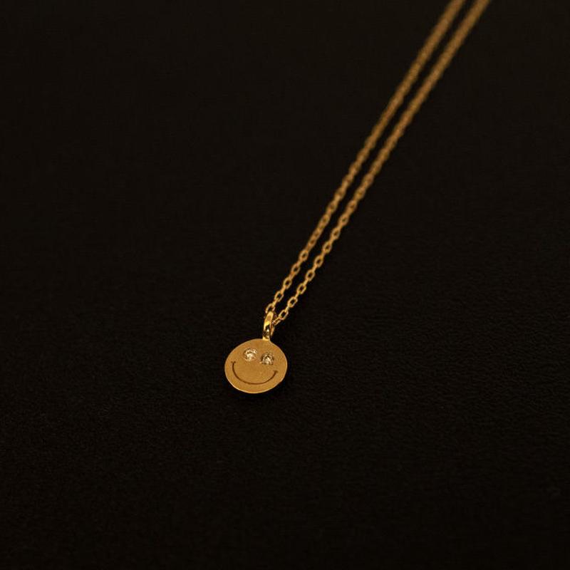 ゴールドネックレス スマイル K18 ダイヤ