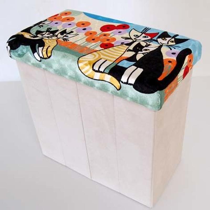 刺繍スツール(50×27×50) ロジーナ「子猫とおすまし」 商品番号:is1087-rs-35