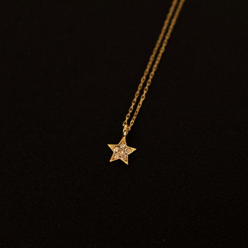 ゴールドネックレス スター K18 ダイヤ