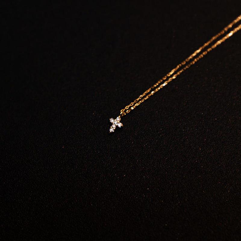 ゴールドネックレス クロス K18 ダイヤ
