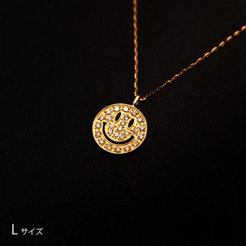 ゴールドネックレス スマイルマークLサイズ K18 ダイヤ