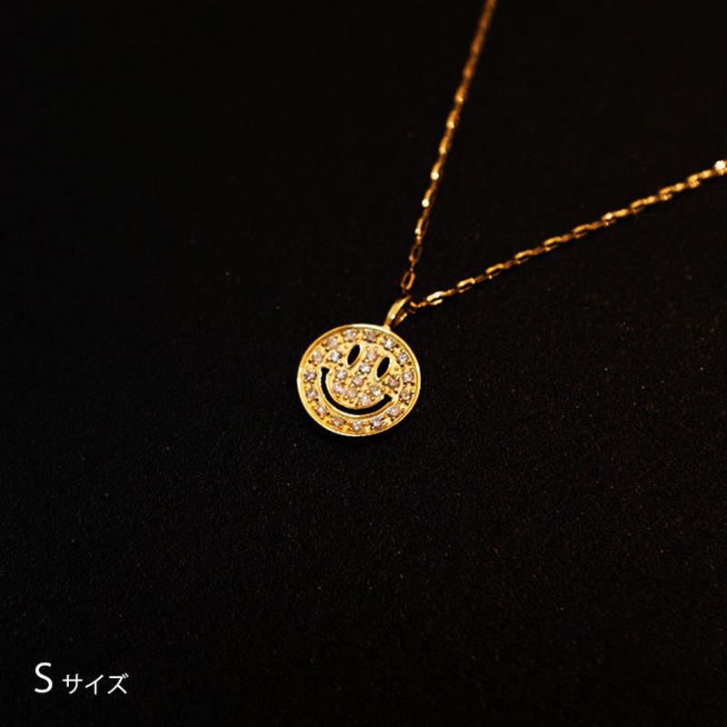 ゴールドネックレス スマイルマークSサイズ K18 ダイヤ