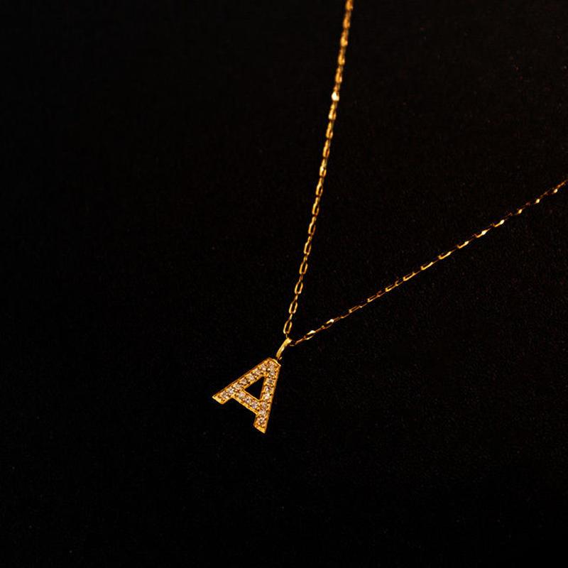 ゴールドネックレス アルファベット K18 ダイヤ