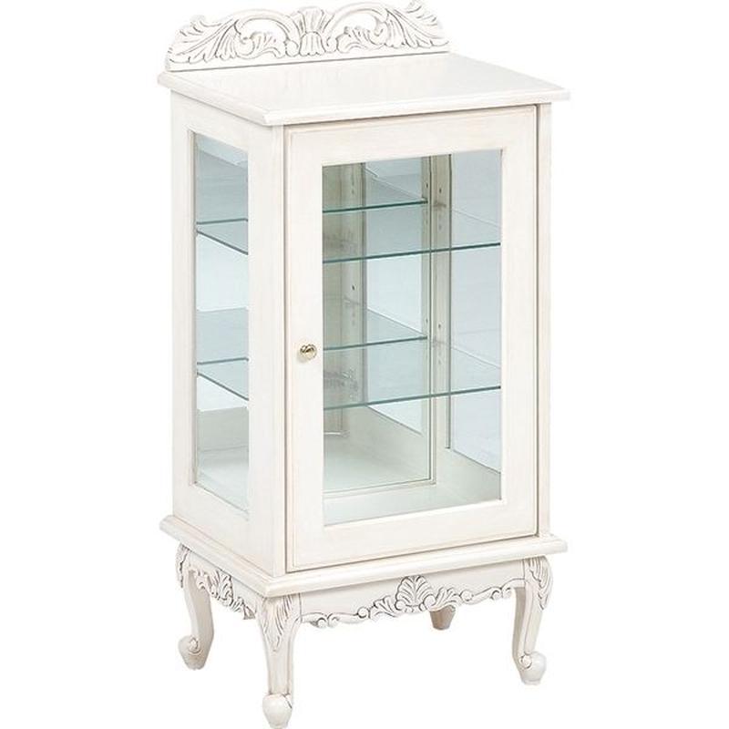 【送料無料】ヴィオレッタシリーズ ガラスキャビネット(アンティークホワイト) RCC-1752AW