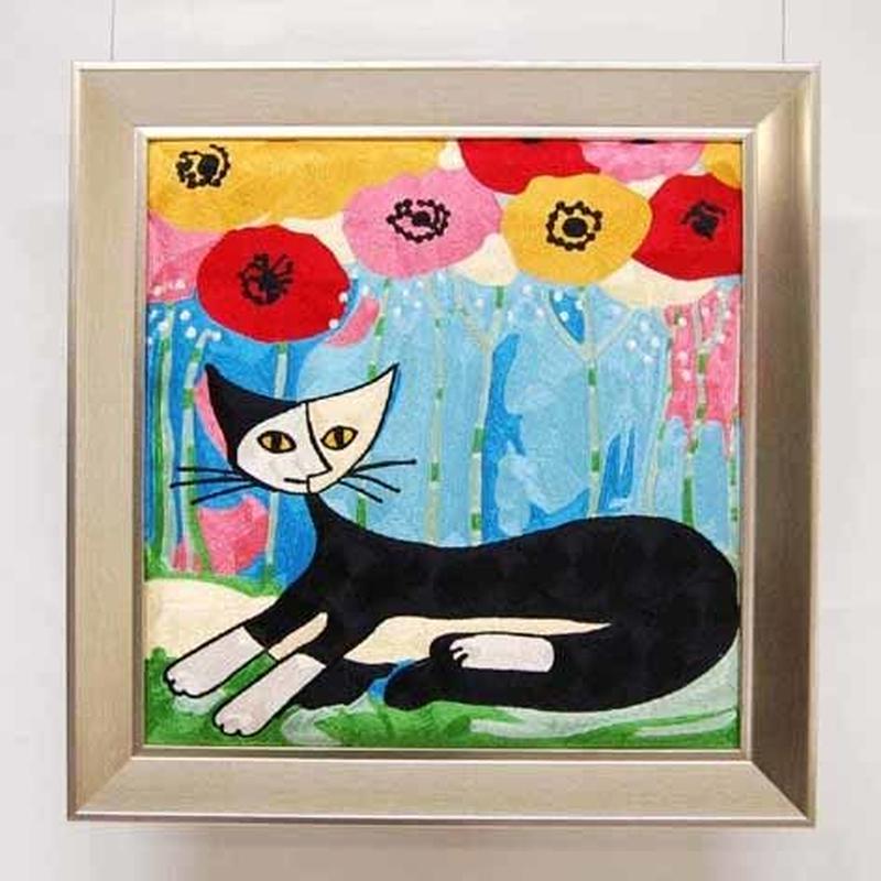 刺繍絵画(53×54) ロジーナ「ポピーとネコ」 商品番号:is1087-rw-26