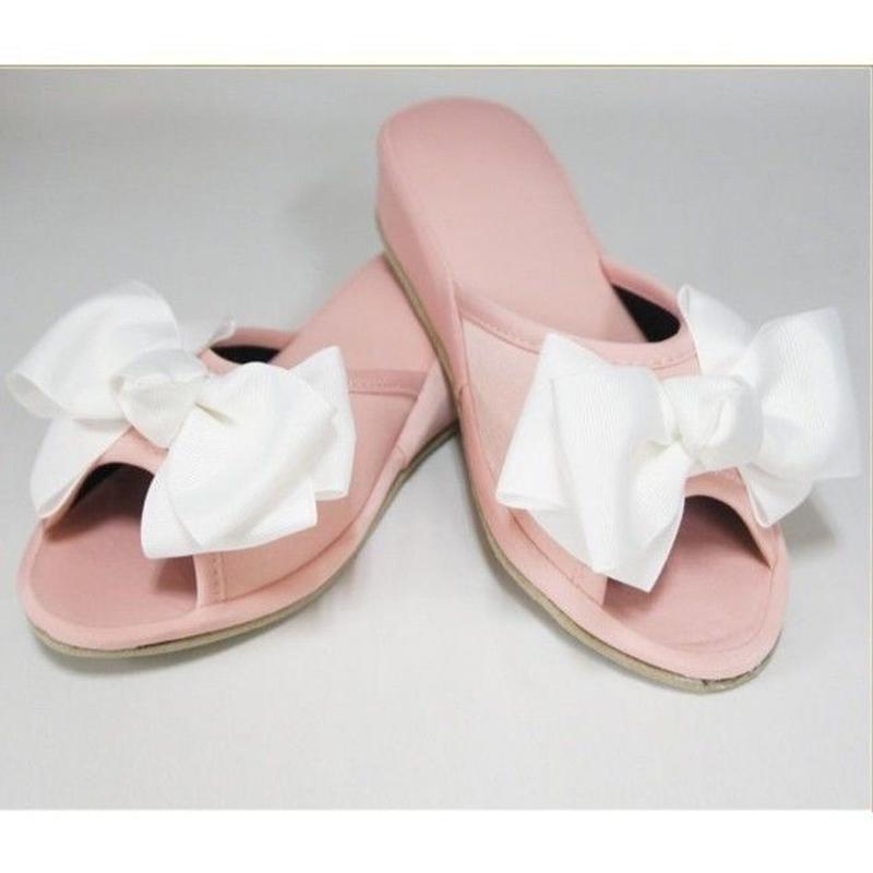 ホワイトリボンスリッパ ピンク