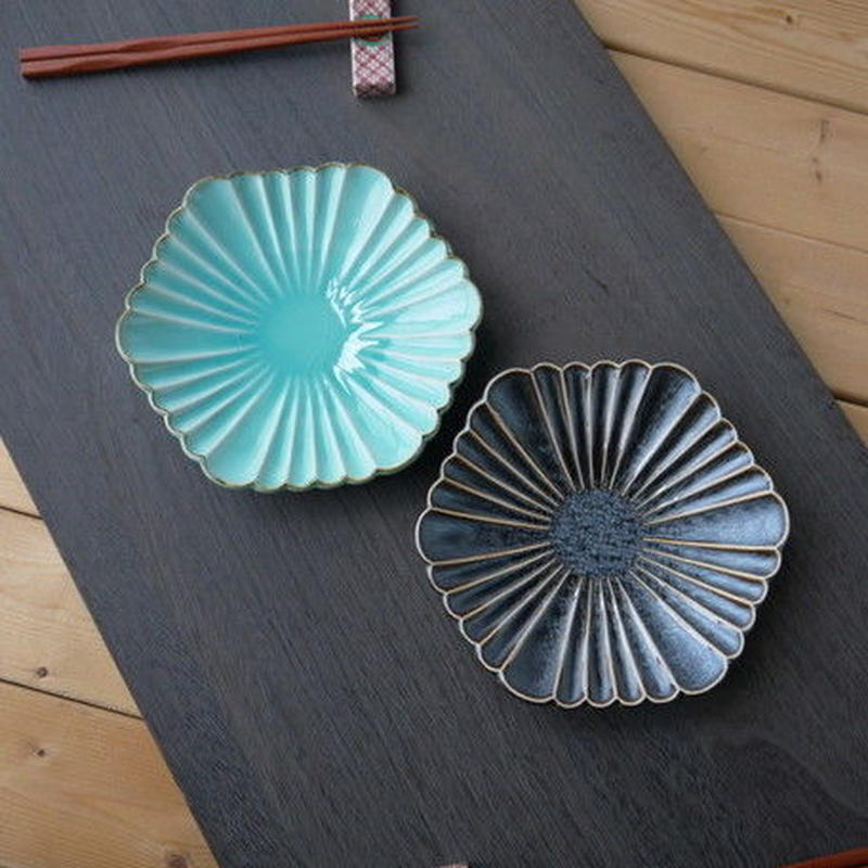 【孔雀】くじゃく組皿 19x3.5cm トルコ色(ターコイズブルー)・茶色 美濃焼 品番:bl-5536191