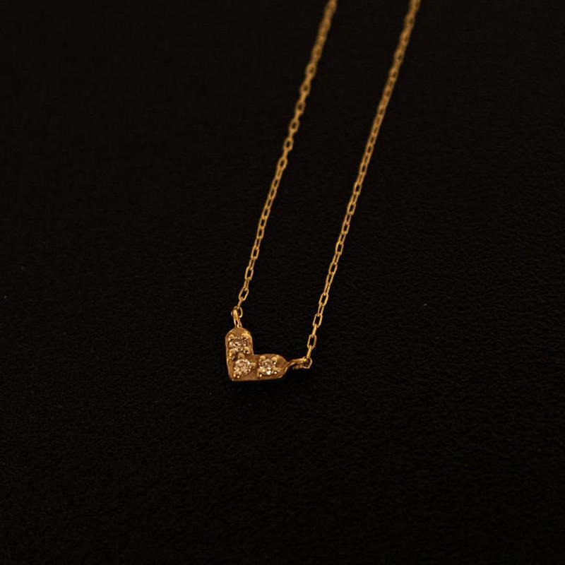 ゴールドネックレス ハート K18 ダイヤ