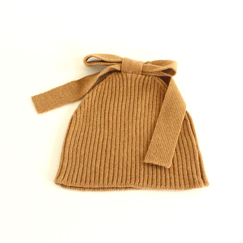Ribbon Knitted Cap (Camel)