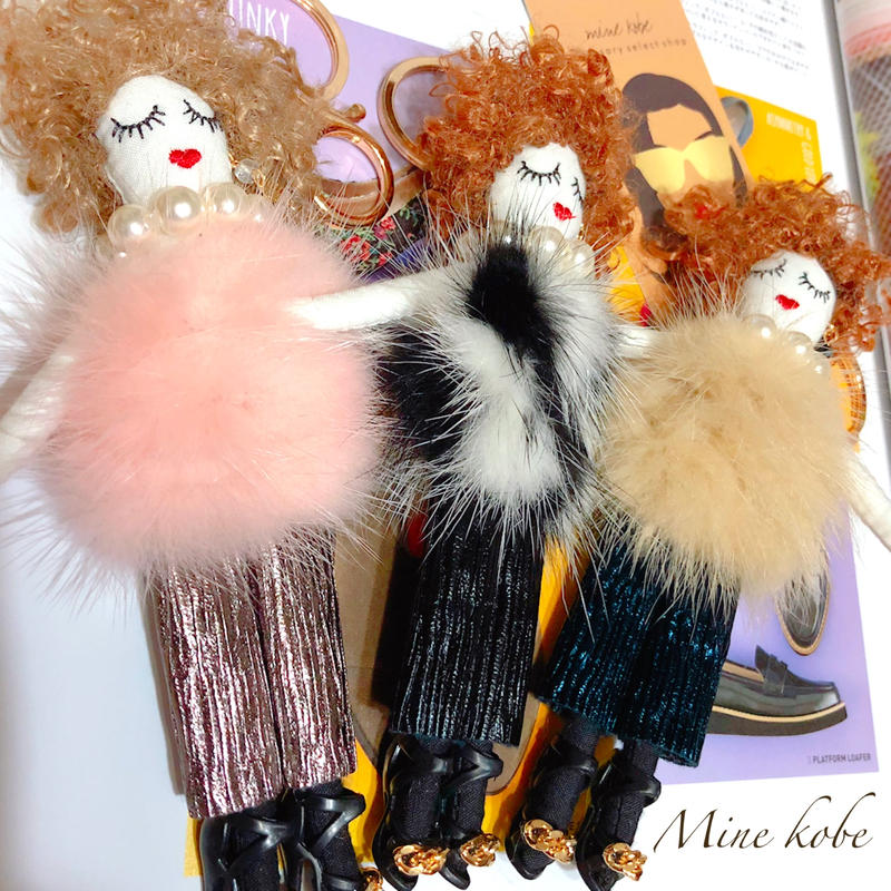 mink fur tops doll charm