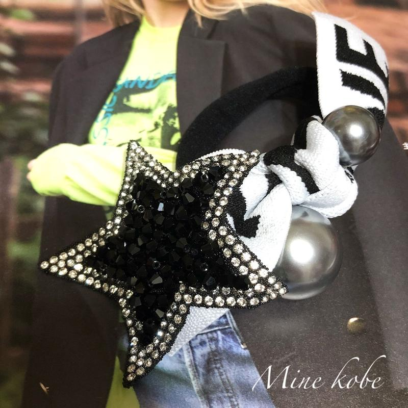LOVE ribbon big star pearl hair gom