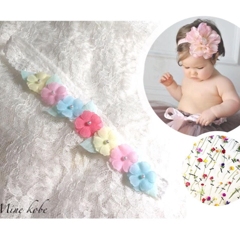 colorful flower baby lace hairband
