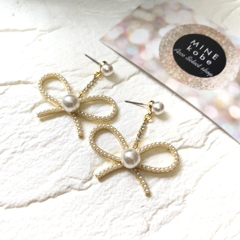 【チタン】bijou ribbon pearl pierce