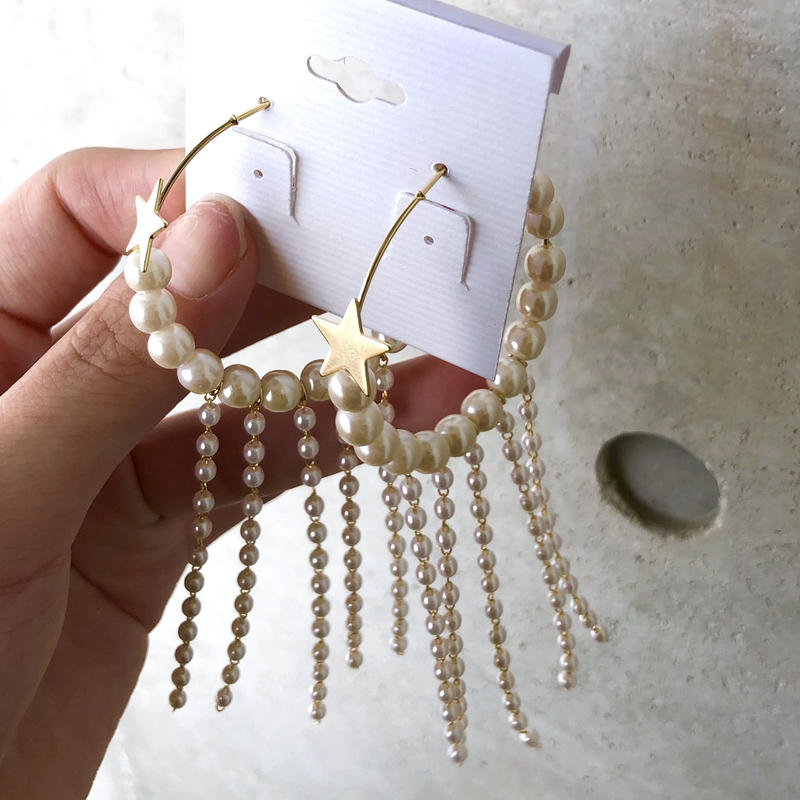 STAR pearl hoop long pierce