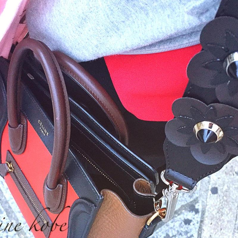 leather flower bag strap