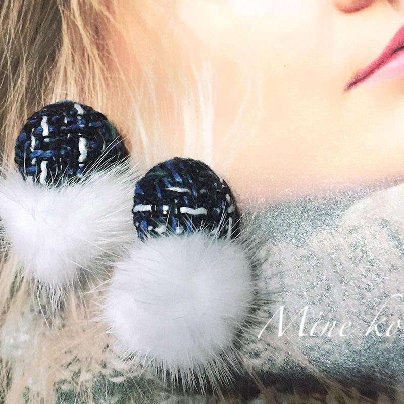 mink fur tweed pierce
