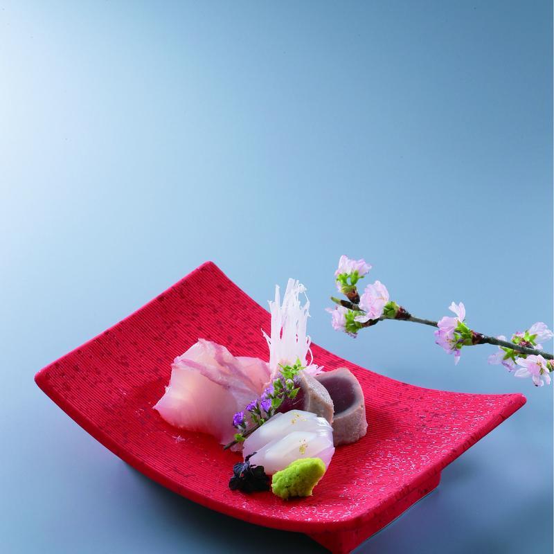 長角 高台皿 (レッド・ブラックから選べます)