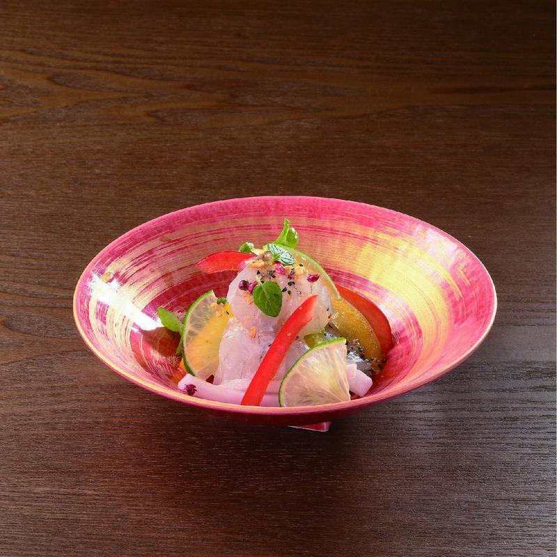 赤×ゴールド ライン丸皿 98-491-02