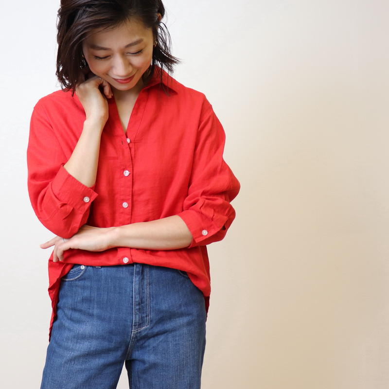【 La cousette | ラクゼット 】 麻100%*七分袖シャツ | 61502