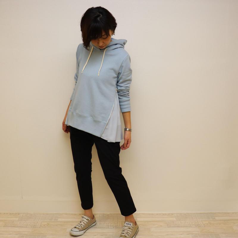 【 Aima+saie | アイマサイエ 】 サイドジップパーカー | color:サックスブルー  |  493913