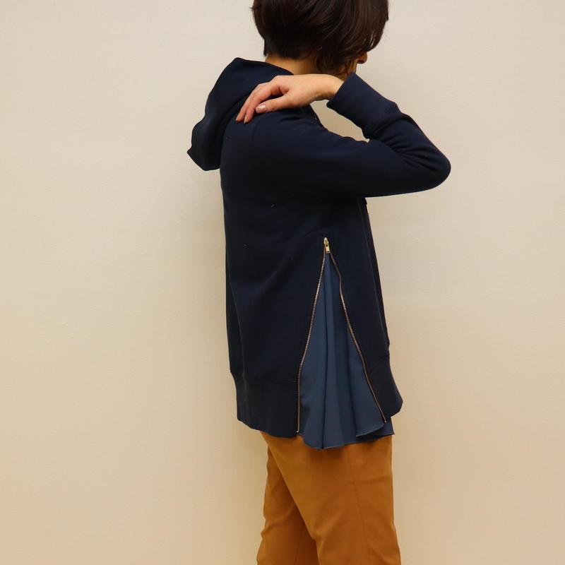 【 Aima+saie | アイマサイエ 】 サイドジップパーカー | color:ネイビー  |  493913