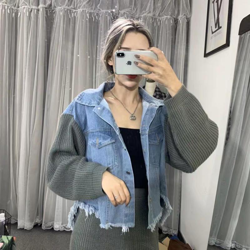 デニムジャケット+ニットスカートsetup