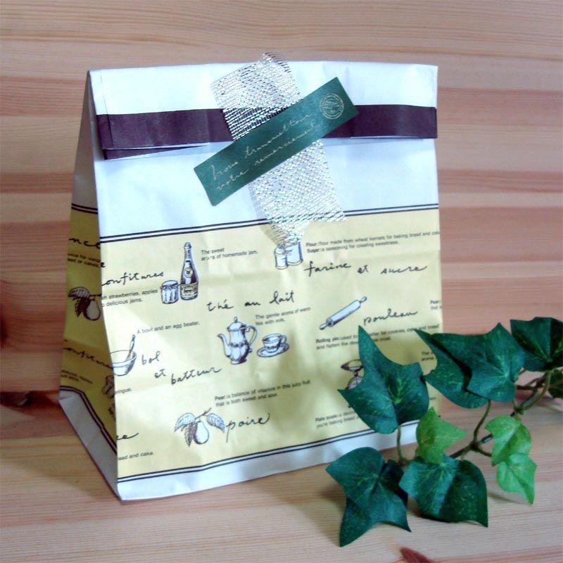 ナチュラルラッピング*ティータイム柄紙袋セット