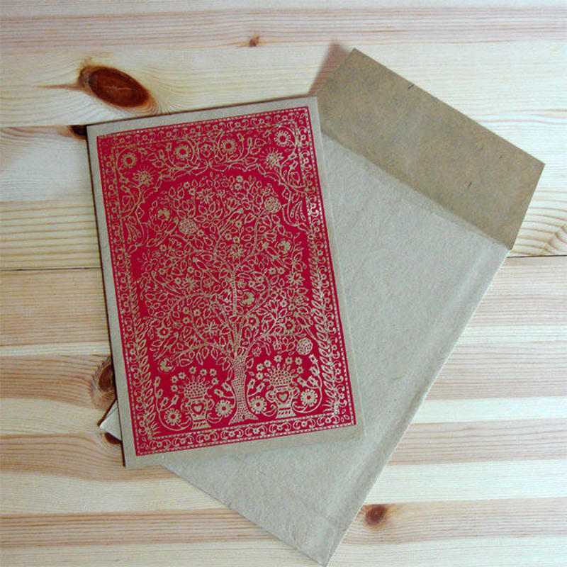 エスニックギフトカード・黄金の樹(インド製)