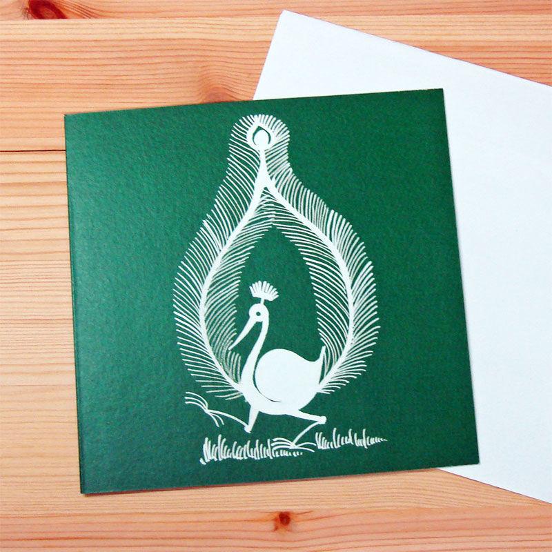 インド先住民族アートギフトカード(正方形)ワルリ画・クジャクグリーン