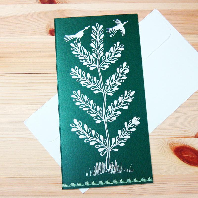 インド先住民族アートギフトカード(ロング)ワルリ画・鳥と樹