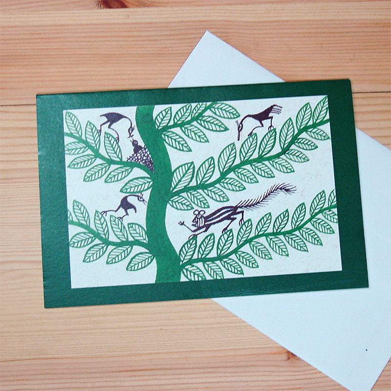 インド先住民族アートギフトカード(定形)ピトラ画・樹と動物達