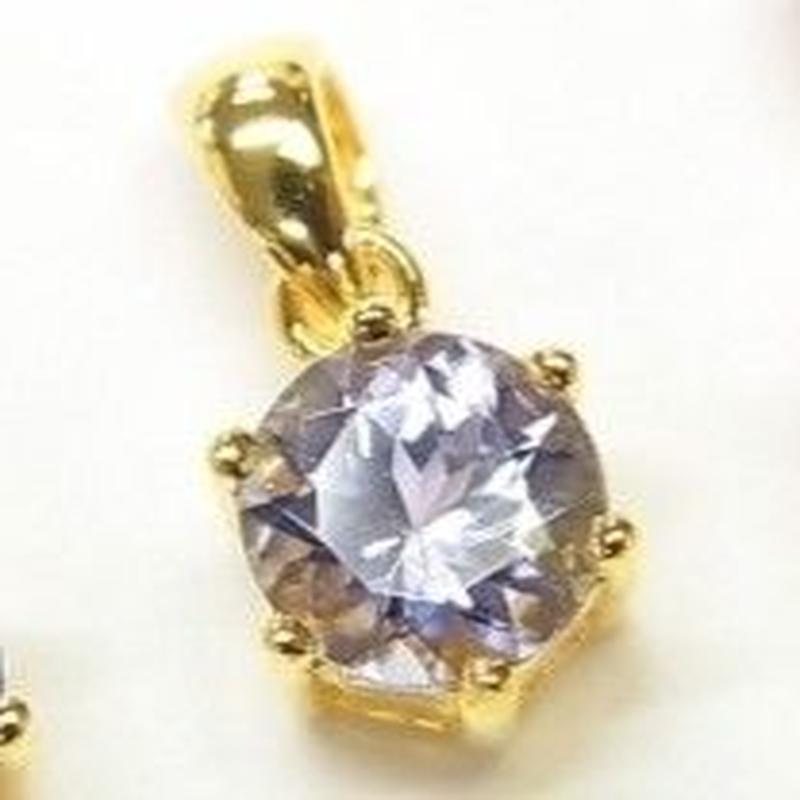 気品溢れる美しさ…!宝石質「タンザナイト」AAAクォリティーがこの価格で実現…!ブリリアントカット「タンザナイト」美女ペンダントトップ♥️  18Kメッキ加工