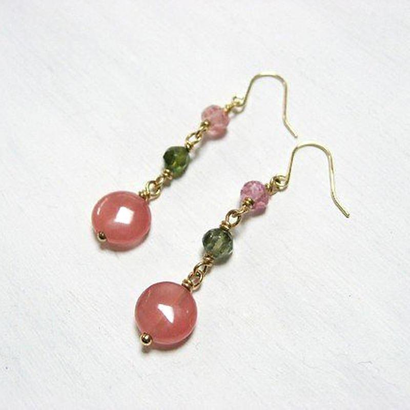 K18 color blossom インカローズとトルマリンのピアス