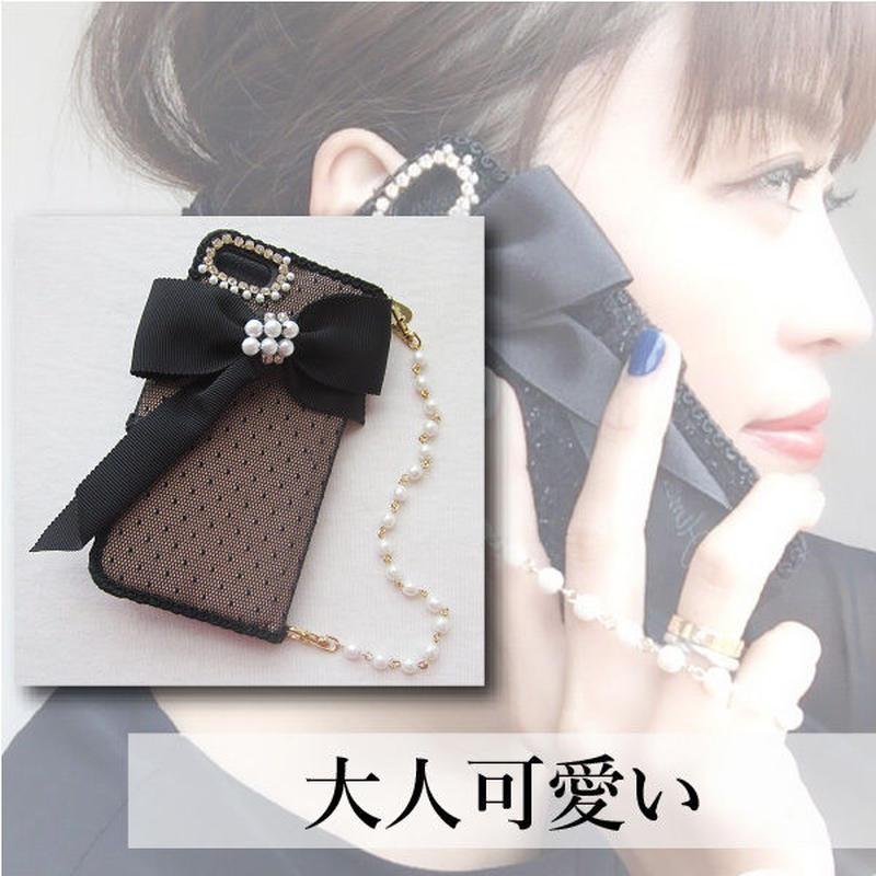 Hime. ドットチュールレース手帳型iPhoneX/5/6/7/8ケース