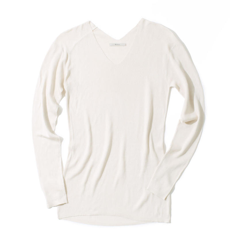 18G V NECK SILK 100 PULLOVER (WHITE)