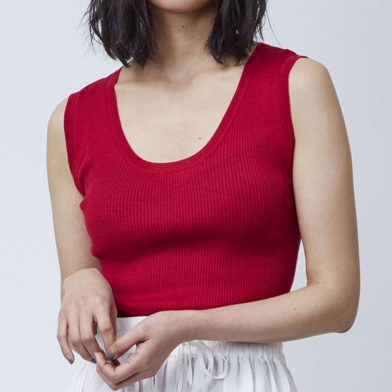 CASHMERE 18G RIB KNIT TANKTOP (RED)