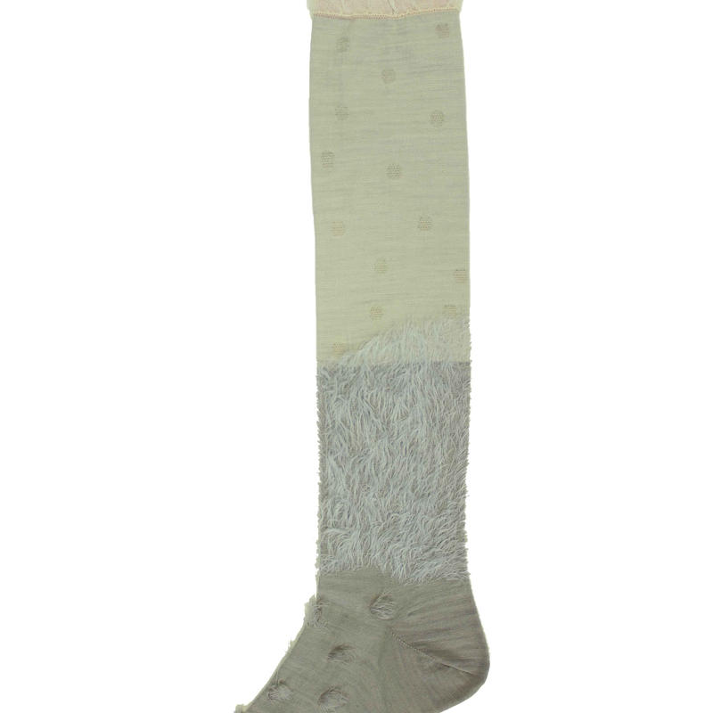 fur mix high socks/ライトグレー