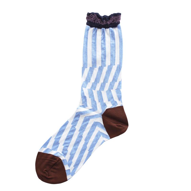 Crumpled stripe socks/ブルー