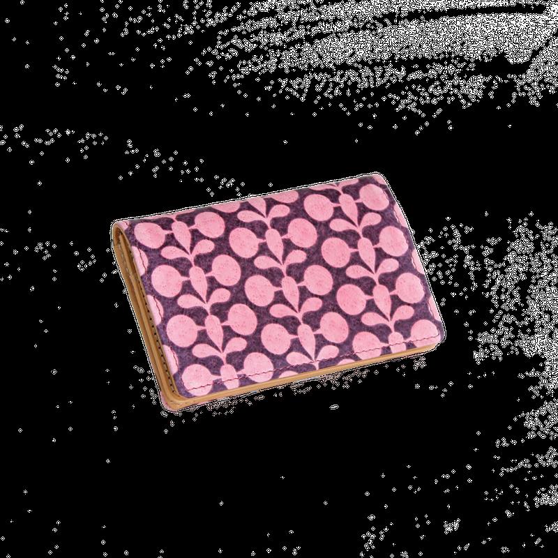豚革友禅名刺ケース / ボタニカル柄(単色) / ピンク